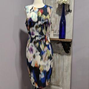 Calvin Klein multicolor holographic sheath dress